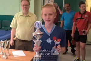 Juul Wensveen winnaar Westlandse Clubkampioenschappen tafeltennis